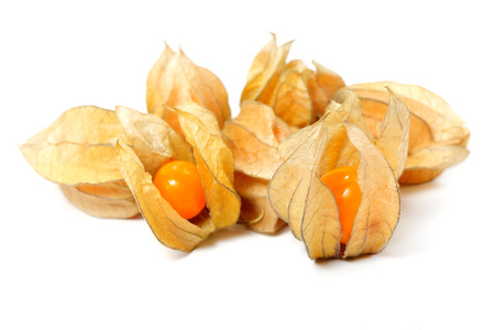 fresher: Food  ingredients -  fruit physalis  isolated over white background Stock Photo