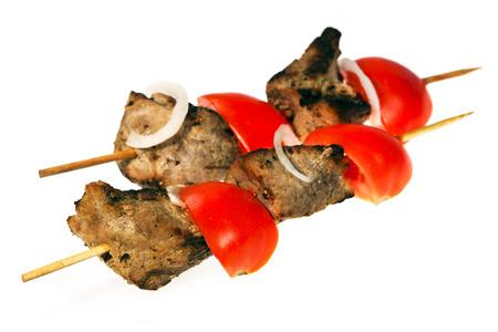 shish kebab: Shish kebab with tomato,isolated over white background
