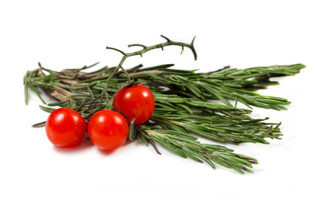 fresher: Food  ingredients - cherry tomatoes and rosmary isolated over white background