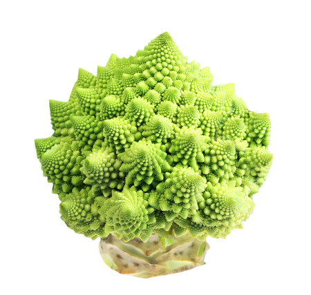 fresher: Food  ingredients -  cabbage broccoli sort romanesco  isolated over white background Stock Photo