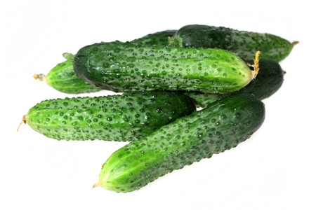 fresher: Food  ingredients - green cucumbers  isolated over white background