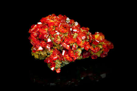 tsavorite: Texture of nature - gem  red crystal Garnet  on black background