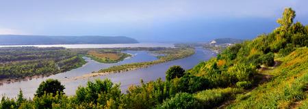 the volga river: Beautiful nature, panoramic scenery.  Rivers of Russia - Volga in Samara, top view