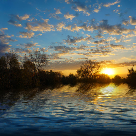 woodland scenery: Beautiful nature, scenery of sunrise on the river