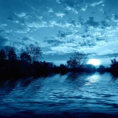 Beautiful nature, scenery of sunset on the river photo