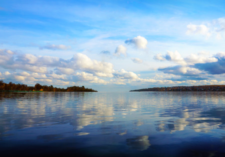 sky reflection: Autumnal nature, cloudy scenery on the river Volga Stock Photo