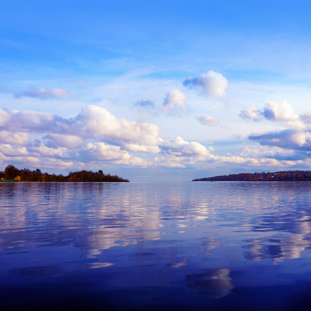 the volga river: Beautiful nature, scenery of sunset on the river
