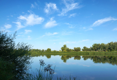quiet scenery: Morning on river Chagan in Kazakhstan, summer nature Stock Photo
