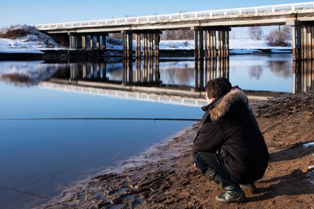 Fishing on Volga canal , Kostromskya region photo