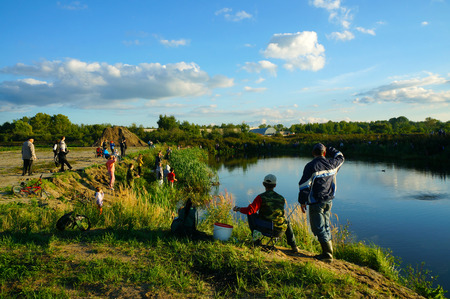 Fishing on river, sporting event 05.09.2014. Russia, Kostroma photo