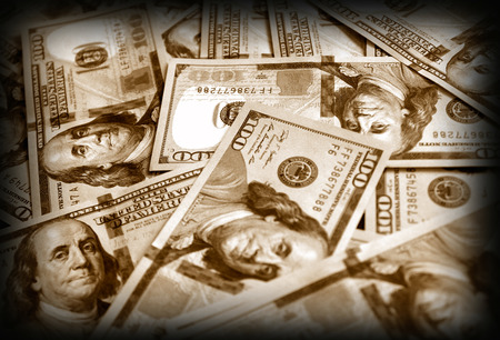 American dollars, image  in vintage style photo