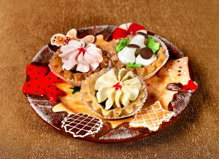 Tasty food on a holiday and Christmas decor