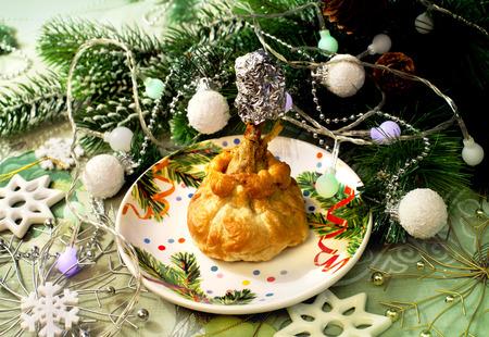 holiday food: Tasty food on a holiday and Christmas decor