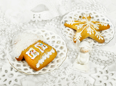 spicecake: Tasty dessert spice-cake on a holiday and Christmas decor
