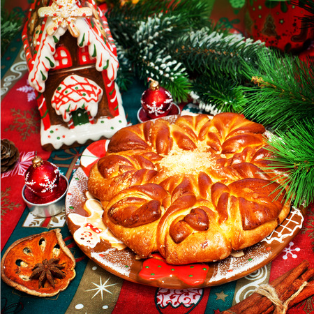 Tasty baked pie on a holiday and Christmas decor photo