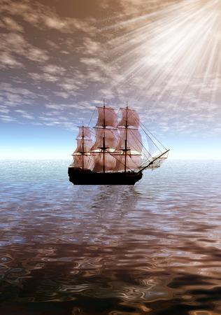 sailer: Sunrise. Lonely sailing ship. 3d sea landscape