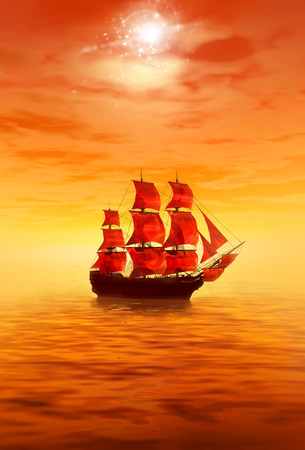 sailer: Sunrise. Lonely sailing ship. 3d sea landscape
