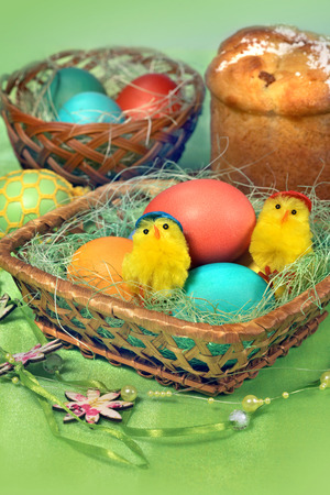 russian tradition: Sweet baked and color eggs for holiday Easter