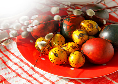 russian easter: Easter color eggs and decor on plate for holiday