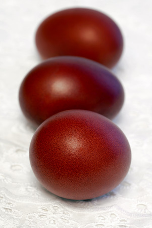 onion peel: Easter colored eggs of onion peel in red color Stock Photo