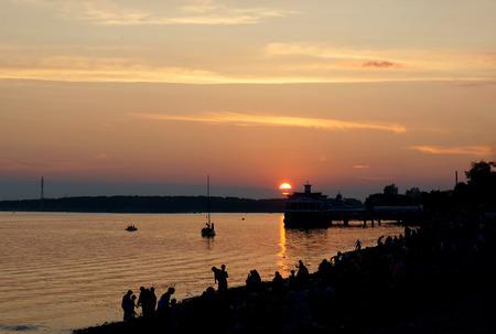 the volga river: Sunset on coast of river Volga in Kostroma city  Russian province
