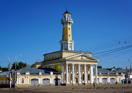 historical architecture: Old historical architecture  Fire tower in Kostroma city Russian province Stock Photo