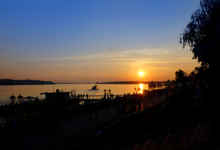 Sunset on coast of river Volga in Kostroma city , Russian province Stock Photo