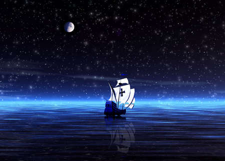 repulse: Lonely sailer. Night