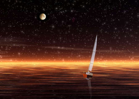 repulse: Landscape.Sunset. Illustration with sea and sailer