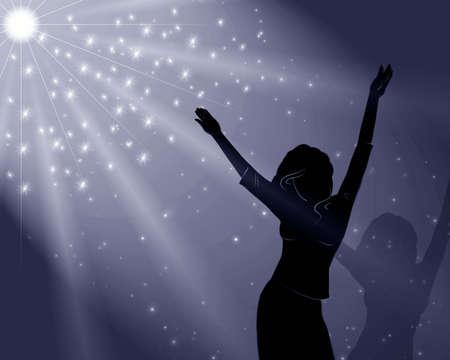 shadowgraph: The girl dances disko . Illustration