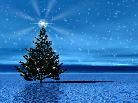 Christmas tree in arctic Stock Photo