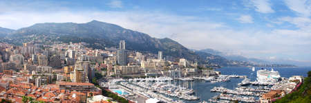 monaco: Panoramic scenery - a view on the sea from above, Azure coast of France, the state Monaco, capital : Monte-Carlo city