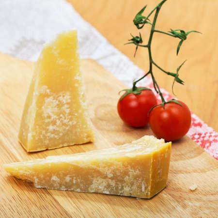 tomato cherry: Italian cheese Parmesan  and tomato cherry Stock Photo