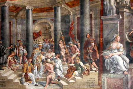 Art of Italy in museums of Vatican, a fresco of Raphael Santi Editorial