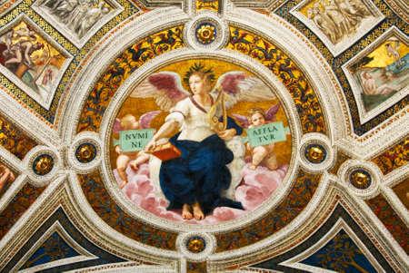 estrofa: Arte de Italia en los museos del Vaticano, un fresco de Rafael, estrofa