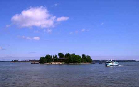 Small island and little ship