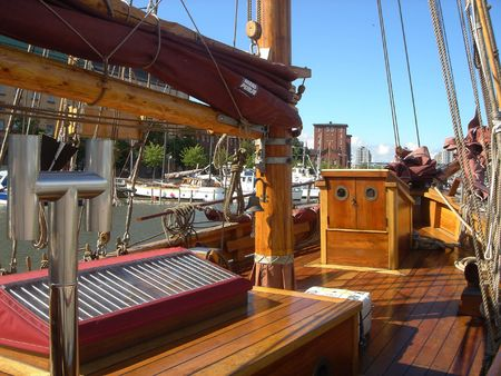 Wooden deck of the ancient ship photo