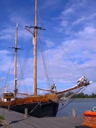 Ancient wooden ship in Helsinki photo