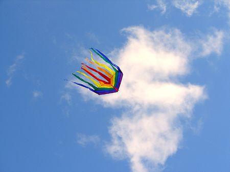 The rainbow kite flies in the blue sky