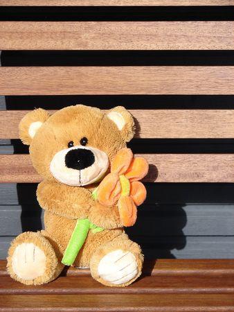 Toy teddy bear holds a flower