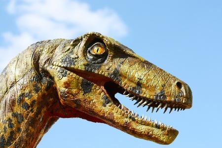 dinosaur teeth: Deinonychus dinosaur head Stock Photo