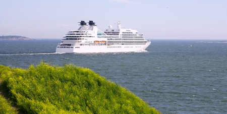 Cruise ship in Finland Gulf with yellow flowers in the foreground, Suomenlinna Sveaborg Helsinki