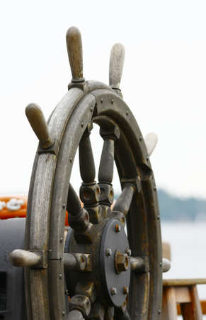 old wooden ship rudder Stock Photo