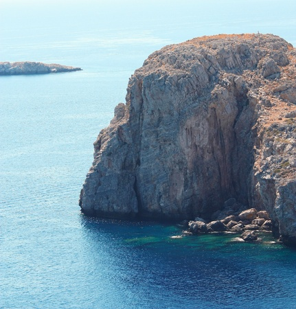 View from Acropolis of Lindos: mountain at the sea (Rhodes island, Greece)  photo