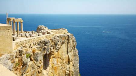 grecia antigua: Castillo Viejo en la ciudad de Lindos, Rodas, Grecia