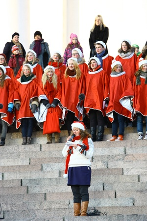HELSINKI, FINLAND - NOVEMBER 20: Traditional Christmas Street opening in Helsinki on November 20, 2011. Stock Photo - 11249980