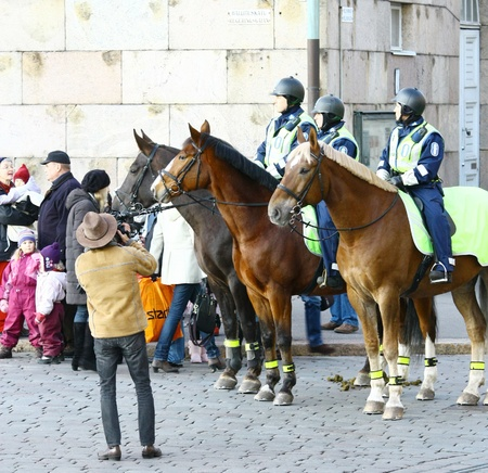 HELSINKI, FINLAND - NOVEMBER 20: Traditional Christmas Street opening in Helsinki on November 20, 2011.