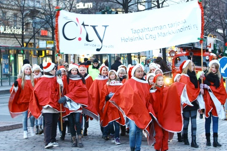 HELSINKI, FINLAND - NOVEMBER 20: Traditional Christmas Street opening in Helsinki on November 20, 2011. Stock Photo - 11260218