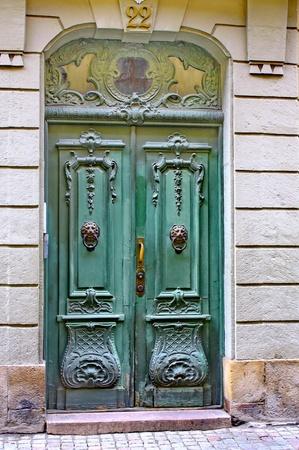 Green door, street of Stockholm, Sweden