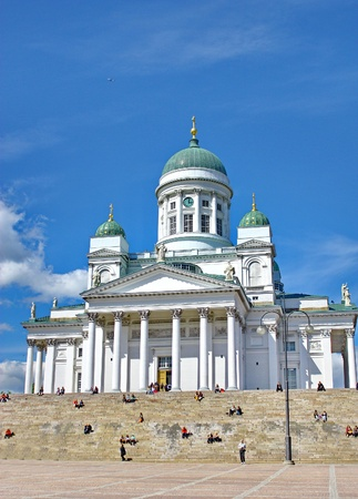 Catedral en la Plaza del Senado en Helsinki Foto de archivo